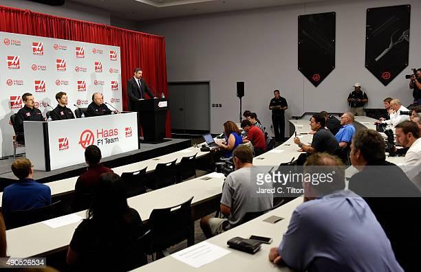 Gene Haas owner of Haas F1 Team speaks with the media as Romain Grosjean of France Gunther Steiner team principal of Haas F1 Team and Mike Arning...