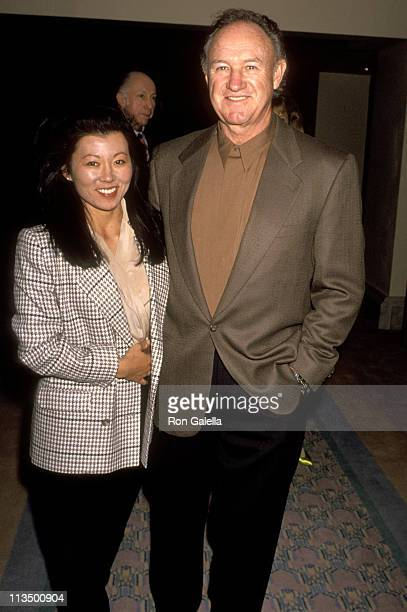 Gene Hackman and Betsy Arakawa during Celebrity Sports Invitational November 29 1991 at Westin Mission Hills Resort in Rancho Mirage California...