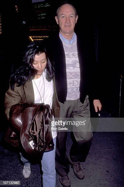 """Gene Hackman and Betsy Arakawa during Gene Hackman Sighting at Play Performance of """"Death and the Maiden"""" on February 23, 1992 at Brooks Atkinson..."""