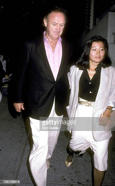 Gene Hackman and Betsy Arakawa during Gene Hackman Sighting at Spago - September 5, 1986 at Spago in West Hollywood, California, United States.