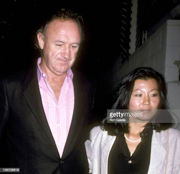 Gene Hackman and Betsy Arakawa during Gene Hackman Sighting at Spago September 5 1986 at Spago in West Hollywood California United States