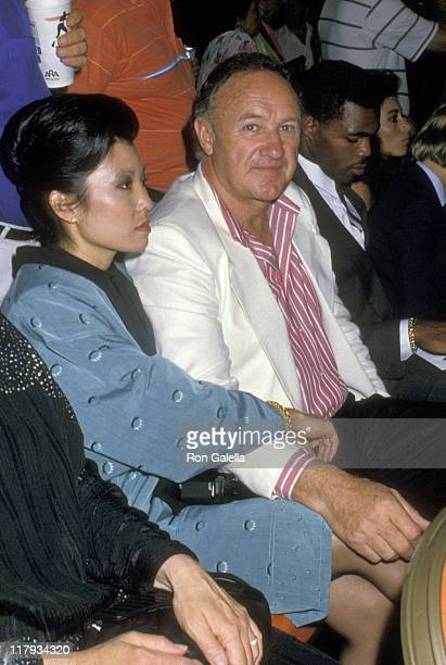 Gene Hackman and Betsy Arakawa during Mike Tyson vs Michael Spinks Fight at Trump Plaza June 27 1988 at Trump Plaza in Atlantic City New Jersey...