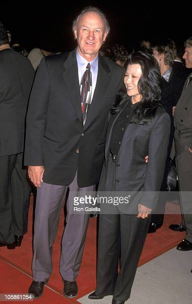 """Gene Hackman and Betsy Arakawa during """"The Chamber"""" Los Angeles Premiere at The Academy in Beverly Hills, California, United States."""