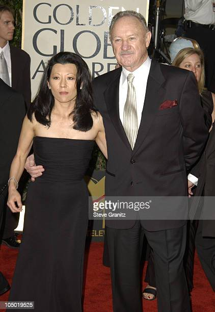 Gene Hackman and wife Betsy Arakawa during The 60th Annual Golden Globe Awards Arrivals at The Beverly Hilton Hotel in Beverly Hills California...