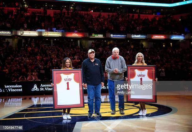 Gene Keady the former coach of Purdue and Bobby Knight the former coach of Indiana are honored at halftime of the New Orleans Pelicans game against...