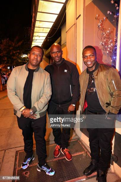 Gene Nelson Nigel Talley and KMack attend the ANI Ramen House Grand Opening at ANI Ramen House on April 24 2017 in Jersey City New Jersey