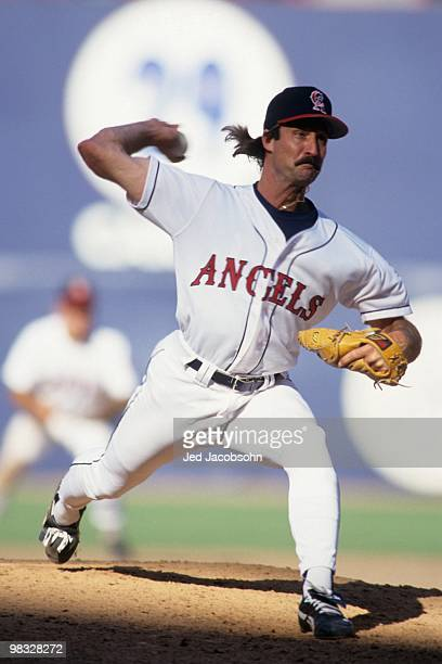 Gene Nelson of the California Angels pitches during the game against the Minnesota Twins at Anaheim Stadium on August 1 1993 in Anaheim California