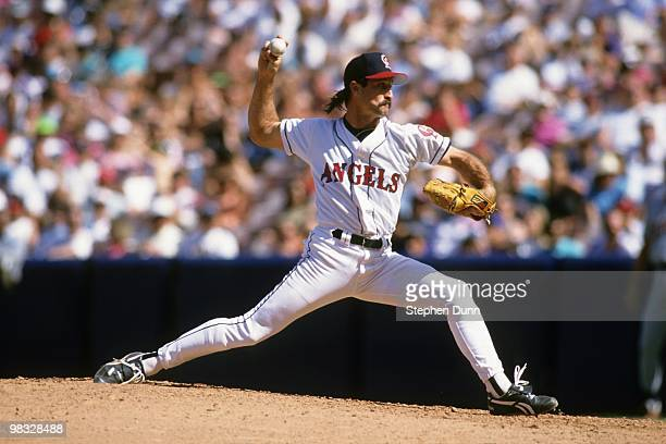 Gene Nelson of the California Angels pitches during the game against the Detroit Tigers at Anaheim Stadium on April 11 1993 in Anaheim California