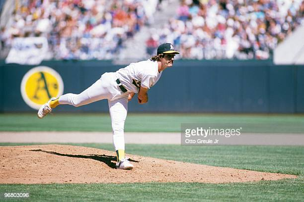 Gene Nelson of the Oakland Athletics pitches during a 1988 season game against at OaklandAlameda County Coliseum in Oakland California