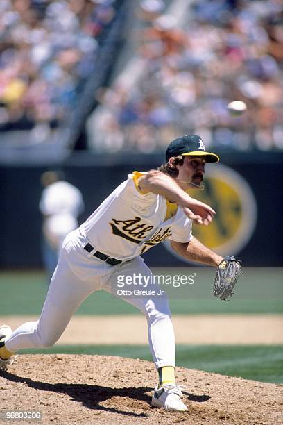 Gene Nelson of the Oakland Athletics pitches during a 1989 season game against at OaklandAlameda County Coliseum in Oakland California