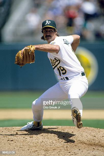 Gene Nelson of the Oakland Athletics pitches during a game against the Cleveland Indians at OaklandAlameda County Coliseum in May of 1992 in Oakland...