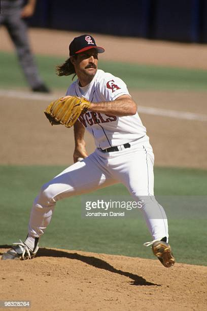Gene Nelson of the pitches during the game against the New York Yankees at Anaheim Stadium on July 11 1993 in Anaheim California