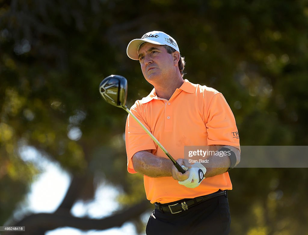 Gene Sauers hits a drive on the third hole during the second round of the Champions Tour Toshiba Classic at Newport Beach Country Club on October 31, 2015 in Newport Beach, California.
