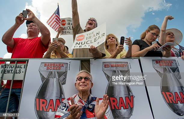 Gene Shusman from Phildelphia gets a front row seat at a the Stop The Iran Nuclear Deal protest in front of the US Capitol in Washington DC on...