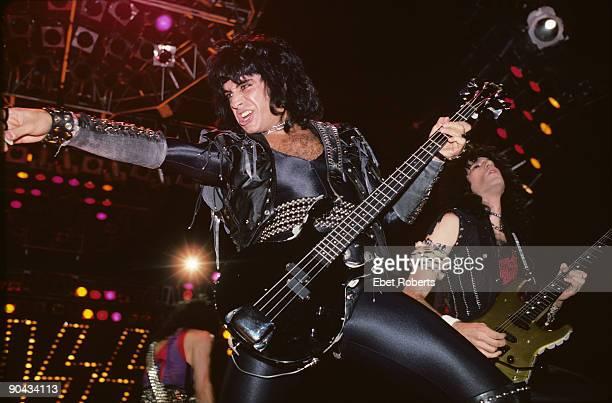 LONG ISLAND NEW YORK NOVEMBER 26 Gene Simmons and Bruce Kulick of Kiss performing at Nassau Coliseum in UniondaleLong Island on November 26 1984