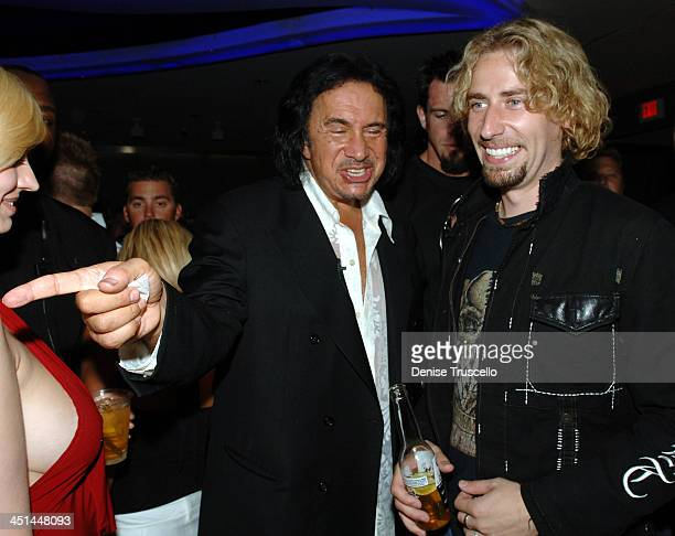 Gene Simmons and Chad Kroeger during Gene Simmons' Birthday Party August 25 2005 at The Palms Hotel and Casino Resort in Las Vegas Nevada