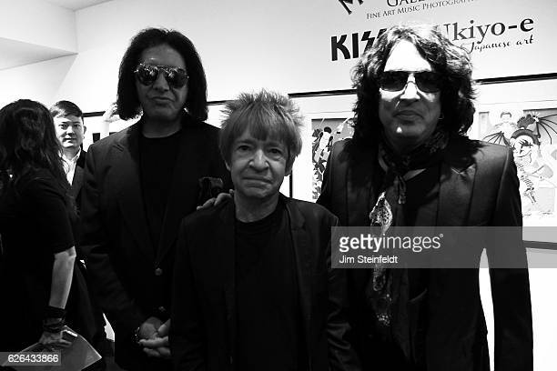 Gene Simmons and Paul Stanley and Rodney Bingenheimer at the Morrison Hotel Gallery at the Sunset Marquis Hotel in Los Angeles California during the...
