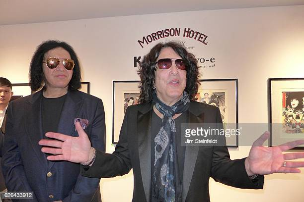 Gene Simmons and Paul Stanley at the Morrison Hotel Gallery at the Sunset Marquis Hotel in Los Angeles California during the KISS exhibit on February...