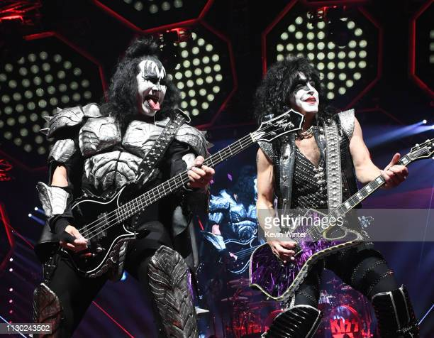 Gene Simmons and Paul Stanley of KISS perform during their End Of The Road World Tour at The Forum on February 16 2019 in Inglewood California