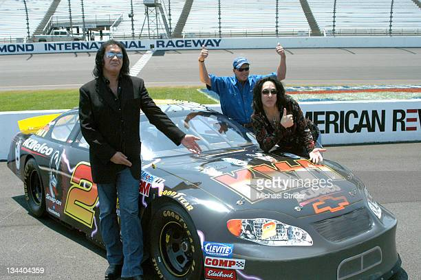 Gene Simmons and Paul Stanley of KISS with Nascar Busch Series Driver Ron Hornaday