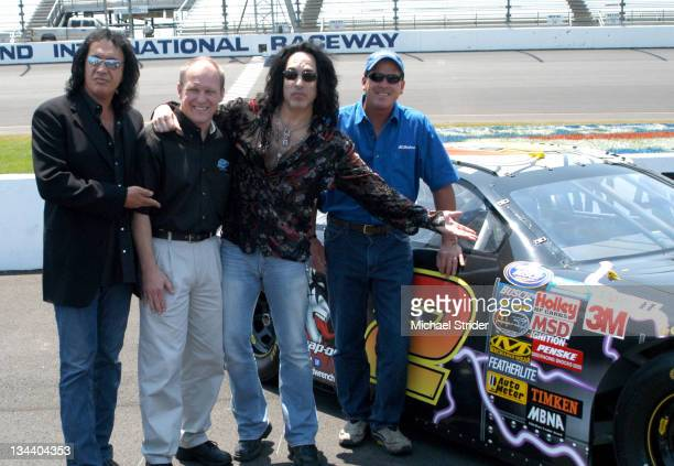 Gene Simmons and Paul Stanley of KISS with Nascar Illustrator Sam Bass and Busch Series driver Ron Hornaday
