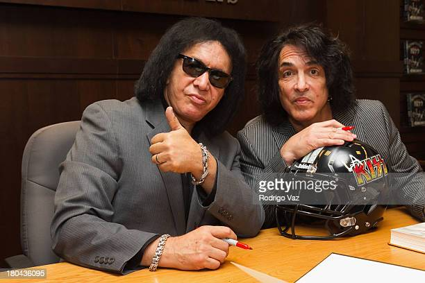 Gene Simmons and Paul Stanley of the band KISS sign copies of their new book 'Nothin' To Lose' at Barnes Noble bookstore at The Grove on September 12...