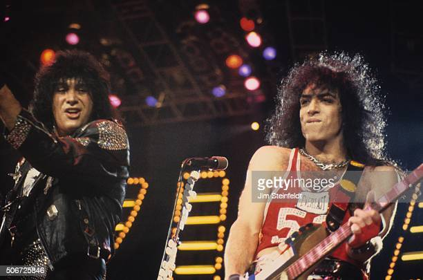 Gene Simmons and Paul Stanley of the rock band KISS perform on the Crazy Nights Tour at the St Paul Civic Center in St Paul Minnesota on January 12...