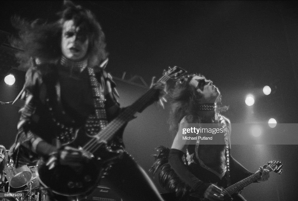 Gene Simmons (left) and Paul Stanley performing with American heavy metal group Kiss on their second UK appearance, at the Hammersmith Odeon, London, 16th May 1976.