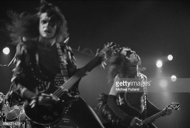 Gene Simmons and Paul Stanley performing with American heavy metal group Kiss on their second UK appearance at the Hammersmith Odeon London 16th May...