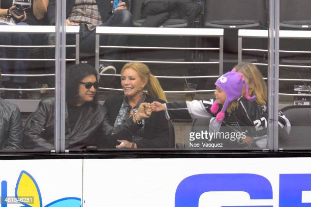 Gene Simmons and Shannon Tweed attend a hockey game betweent the Minnesota Wild and the Los Angeles Kings at Staples Center on January 7 2014 in Los...