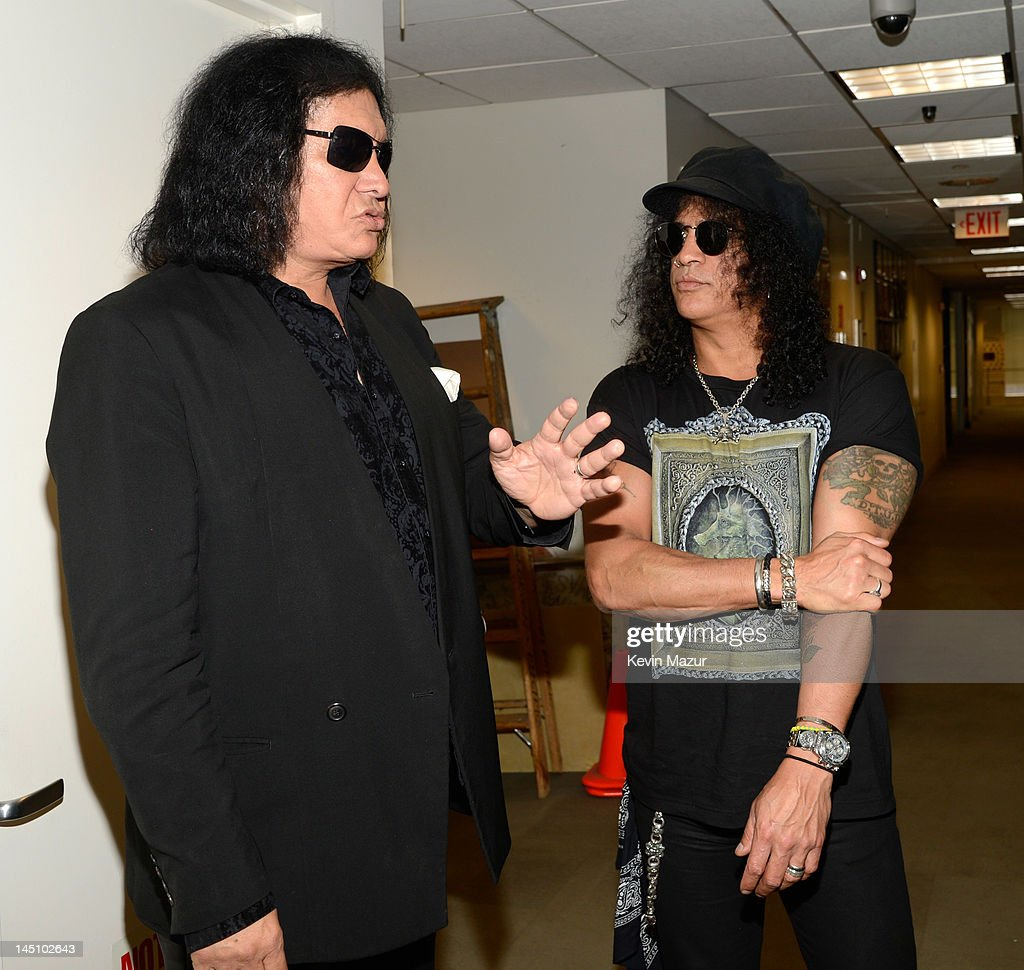 Gene Simmons and Slash backstage at the SiriusXM Studio on May 23, 2012 in New York City.