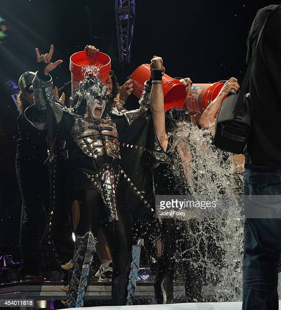 Gene Simmons and Tommy Thayer of KISS participates in the ALS Ice Bucket Challenge at Klipsch Music Center on August 22 2014 in Noblesville Indiana