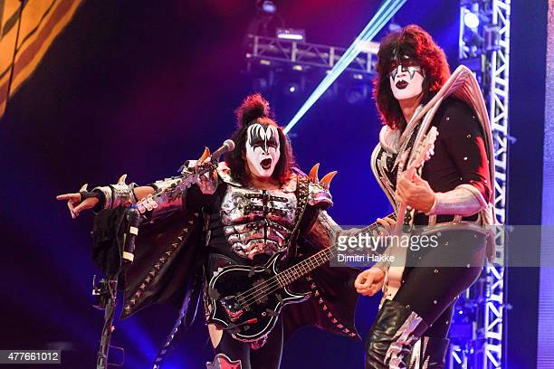 Gene Simmons and Tommy Thayer of Kiss perform at Ziggo Dome on June 18 2015 in Amsterdam Netherlands