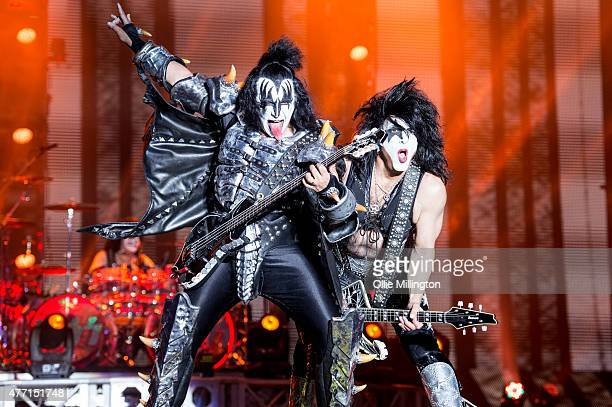 Gene Simmons and Tommy Thayer of Kiss perform onstage headlining the final night of Download Festival 2015 at Donnington Park on June 14 2015 in...