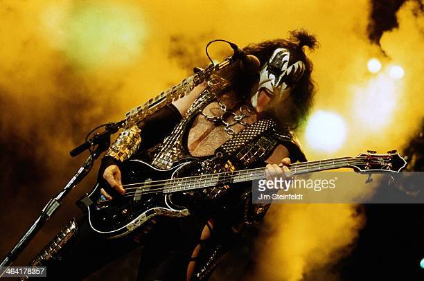 Gene Simmons bassist and singer for the rock band KISS performs at the Great Western Forum in Inglewood, California on August 23, 1996.