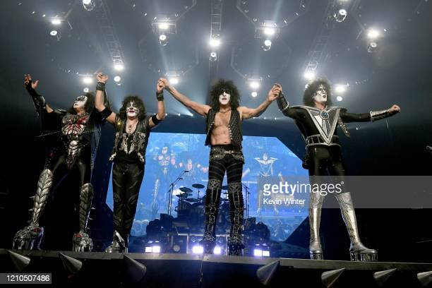 Gene Simmons Eric Singer Paul Stanley and Tommy Thayer of Kiss perform onstage at Staples Center on March 04 2020 in Los Angeles California