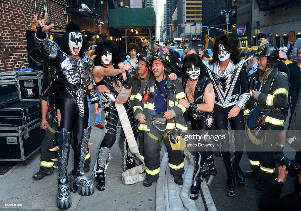 Gene Simmons, Eric Singer, Tommy Thayer and Paul Stanley of Kiss depart Ed Sullivan Theater on October 10, 2012 in New York City.