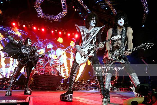 Gene Simmons Eric Singer Tommy Thayer and Paul Stanley of KISS perform during their opening show for the Australian leg of their 40th anniversary...