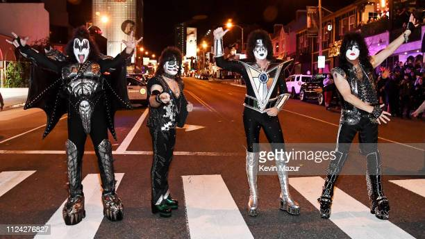 Gene Simmons, Eric Singer, Tommy Thayer and Paul Stanley of KISS pose on Sunset Blvd during KISS Performs Private Concert For SiriusXM At Whisky A Go...