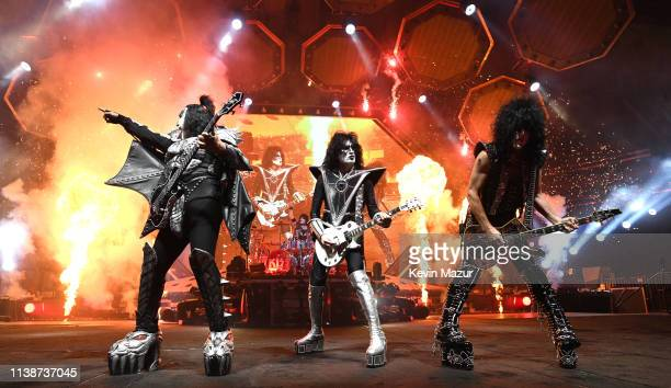 Gene Simmons Eric Singer Tommy Thayer Paul Stanley of KISS perform on stage during End Of The Road World Tour at Madison Square Garden on March 27...