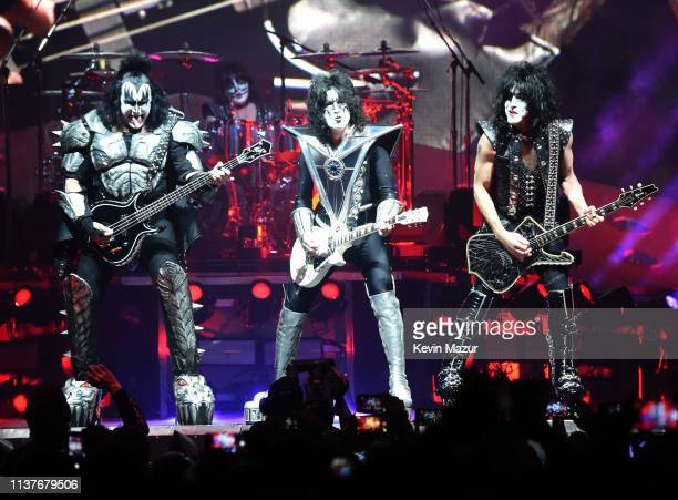 Gene Simmons Eric Singer Tommy Thayer Paul Stanley of the band KISS perform on stage during KISS End Of The Road World Tour at Nassau Coliseum on...