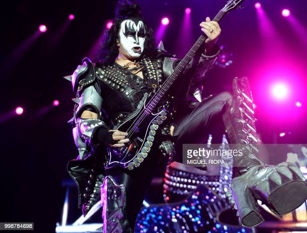 Gene Simmons member of the hard rock band Kiss performs during the Resurrection Fest music festival in Viveiro northern Spain on July 14 2018
