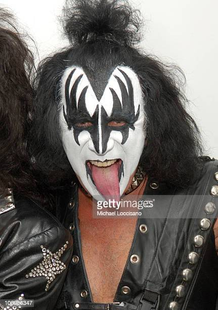 Gene Simmons of Kiss during Gene Simmons and Paul Stanley of Kiss and Lady Sovereign Visit MTV's 'TRL' October 31 2006 at MTV Studios Times Square in...