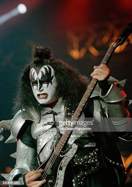 Gene Simmons of Kiss performing on stage at Wembley Arena in London on the 25th March 1999