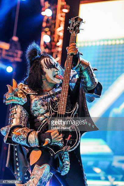 Gene Simmons of Kiss performs at Ziggo Dome on June 18 2015 in Amsterdam Netherlands