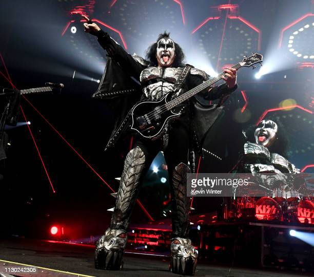 Gene Simmons of KISS performs during their End Of The Road World Tour at The Forum on February 16, 2019 in Inglewood, California.