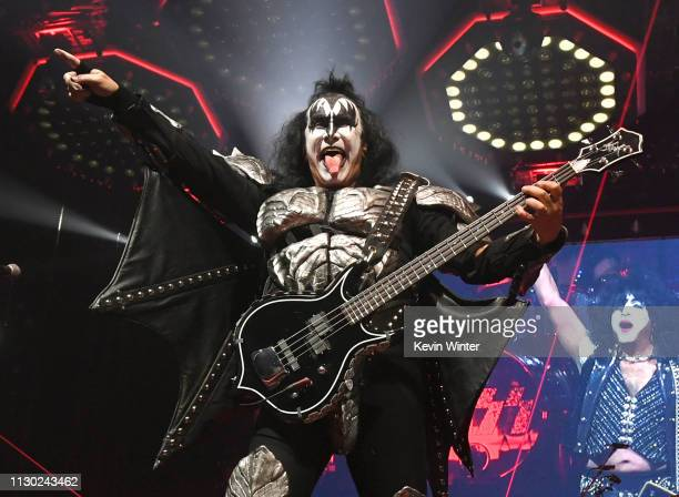 Gene Simmons of KISS performs during their End Of The Road World Tour at The Forum on February 16 2019 in Inglewood California