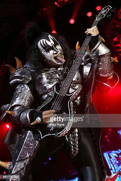 Gene Simmons of KISS, performs during their opening show for the Australian leg of their 40th anniversary world tour at Perth Arena on October 3,...