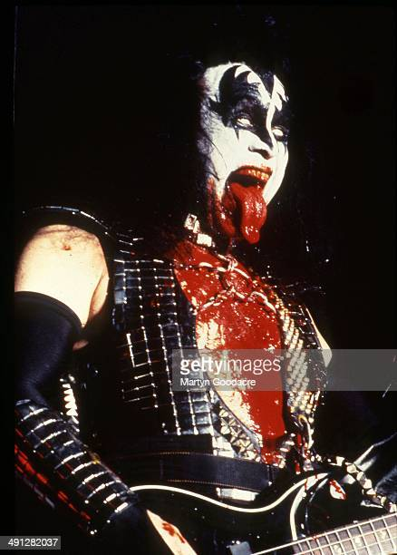 Gene Simmons of Kiss performs on stage at Donington United Kingdom 1996