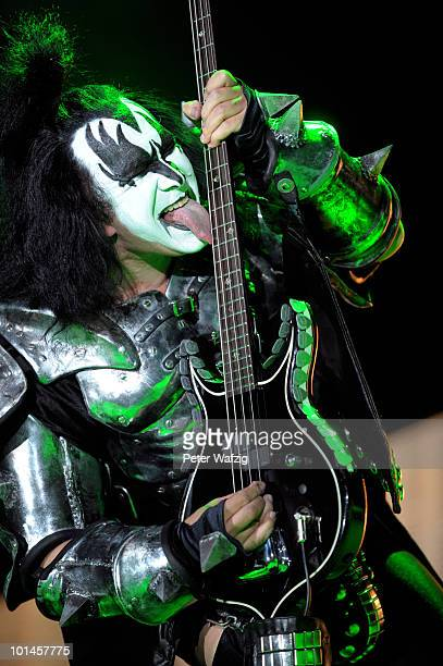 Gene Simmons of Kiss performs on stage at the KoenigPilsenerArena on June 01 2010 in Oberhausen Germany